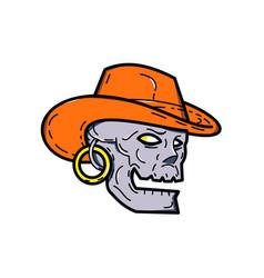 cowboy pirate skull mono line art vector image