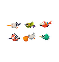 Cute cartoon colorful exotic flying little birds vector