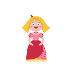 cute queen in red dress vector image