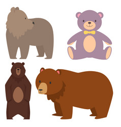 different style bears funny happy animals cartoon vector image