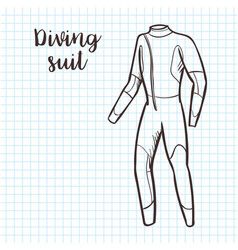 diving suit sketch style vector image