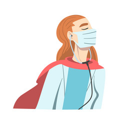 doctor superhero in medical mask and cape vector image