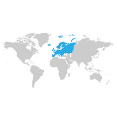 Europe continent blue marked in grey silhouette vector