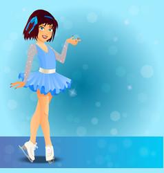 figure skating cute girl vector image