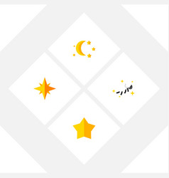 flat icon midnight set of bedtime night starlet vector image