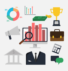 flat icon set business finance elements image vector image