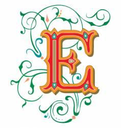 Floral letter e vector