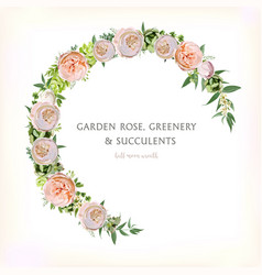 Floral rose circle round wreath with eucalyptus vector