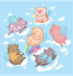 flying pigs in clouds cartoon characters six vector image