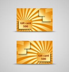 Gift card with orange striped background vector