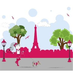 Girl with cute little dog in paris vector