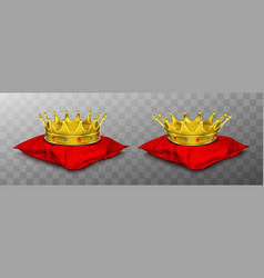 gold royal crown for king and queen on red pillow vector image