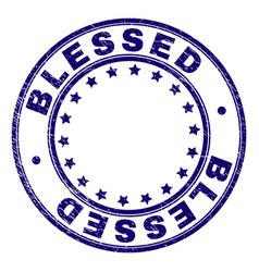 Grunge textured blessed round stamp seal vector