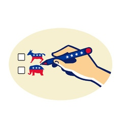 Hand holding pen voting american election vector