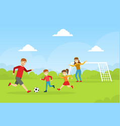 Happy family playing soccer outdoors mother vector