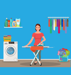 happy young attractive woman ironing clothes vector image