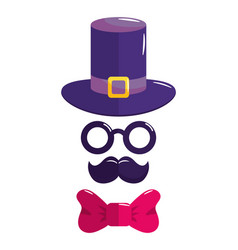hat glasses mustache and bowtie symbols vector image