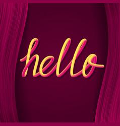 Hello yellow pink gradient luminous lettering on vector