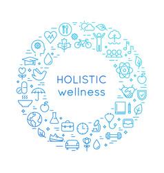 Holistic wellness line round health vector