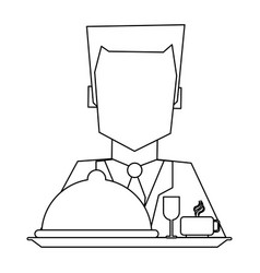 Hotel recepcionist with dinner black and white vector