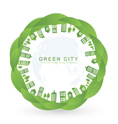 Isolated city buildings on green leaf design vector