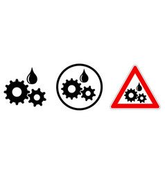 keep oiled sign lubricated gears icon - three vector image