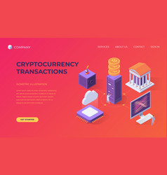 landing page for cryptocurrency transactions vector image