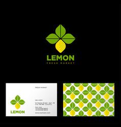 Lemon logo vegetarian restaurant seamless pattern vector