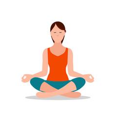 lotus position of yoga sitting vector image