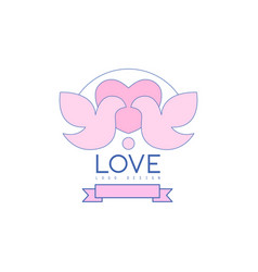 Love line logo design with love doves heart and vector