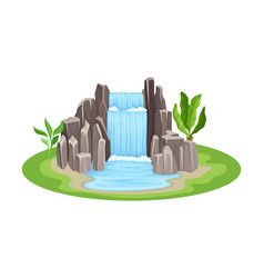 Low tropical waterfall with rocky stone bounds vector