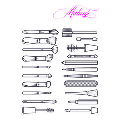 makeup brushes kit line art style makeup beauty vector image