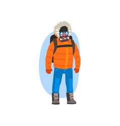 Male polar explorer in winter clothes expedition vector