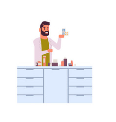 Male scientific researcher holding drugs packages vector