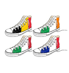 modern hand draw sneakers with Europe Union flags vector image