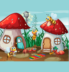 Musician insects at mushroom house vector