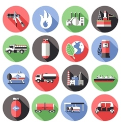 Natural Gas Long Shadow Icons Set vector image