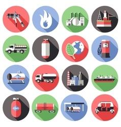 Natural Gas Long Shadow Icons Set vector