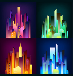 Night city illuminated 4 icons poster vector