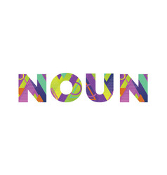 Noun concept retro colorful word art vector