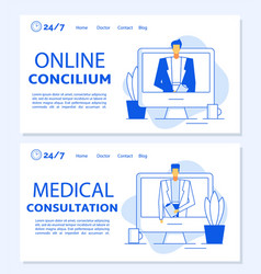 online concilium medical consultation landing page vector image