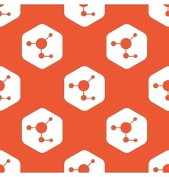 Orange hexagon molecule pattern vector image