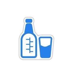 Paper sticker on white background glass bottle vector