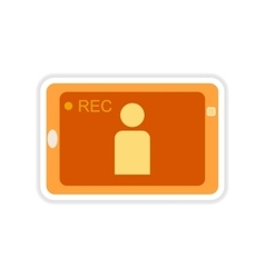 Paper sticker on white background mobile phone vector