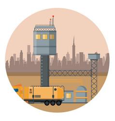 Petroleum refinery machinery vector