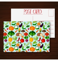 Postcard with fruits and vegetables vector image