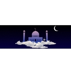 Ramadan Kareem greeting with mosque on heaven vector image