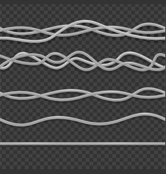 realistic 3d detailed wire cable white set vector image