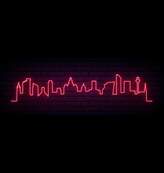 red neon skyline liverpool city bright vector image