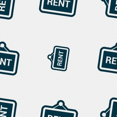 Rent icon sign Seamless pattern with geometric vector image